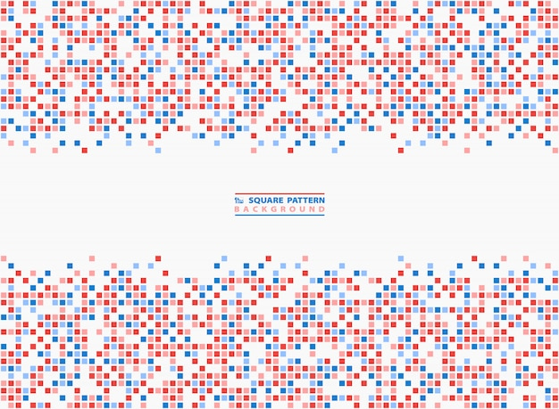 Abstract square background blue and red contrast pixel background