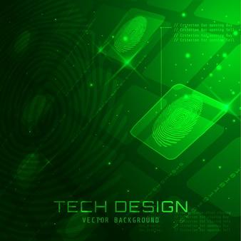Абстрактная квадратная биометрическая технология отпечатков пальцев