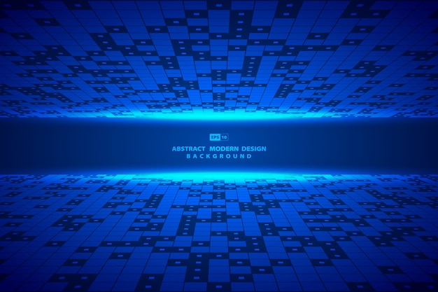 Abstract square blue digital pattern artwork fram background.