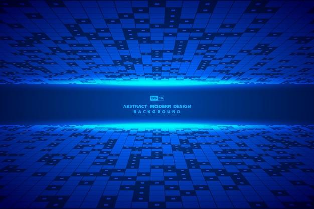 추상 파란색 사각형 디지털 패턴 작품 프레임 배경입니다.