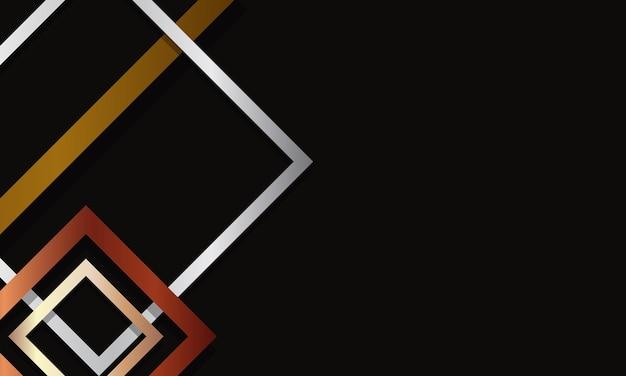 黒の背景に重なる抽象的な正方形のボーダーパターンゴールデンシルバーとブロンズ