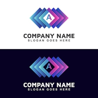 Abstract square logo within initial letter your brand