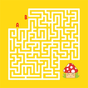 Abstract square maze. find the right path to the cute mushroom.