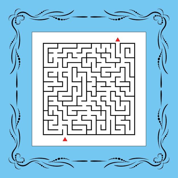 Абстрактный квадратный лабиринт в винтажной рамке. игра для детей.