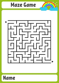 Abstract square maze. kids worksheets. game puzzle for children.