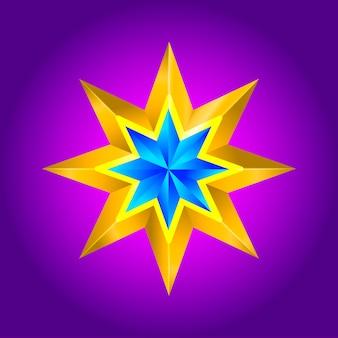 抽象的な星の背景。青い新年のクリスマスに重なる星の形