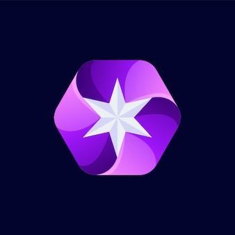 抽象的な星のロゴデザイン