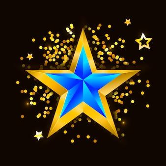 抽象的な星。重なる星形