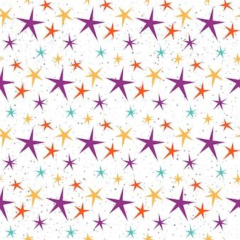 추상 스타 패턴 배경입니다. 디자인 카드, 초대장, 티셔츠, 앨범, 섬유 직물, 의류, 가방, 스크랩북, 포스터, 배너 등에 대한 밝고 불규칙한 유치한 그림