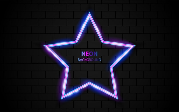 Abstract star shape frame with neon light on dark background