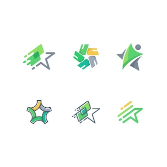 Abstract start, people, and card logo pack vector template