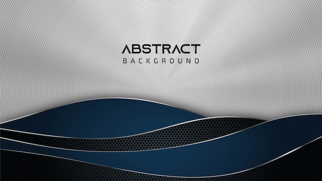 テキストのコピースペースを持つ抽象鋼銀テクスチャ波パターン青い背景