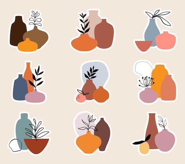 花瓶のモダンなコレクションの葉と抽象的なステッカーコレクション
