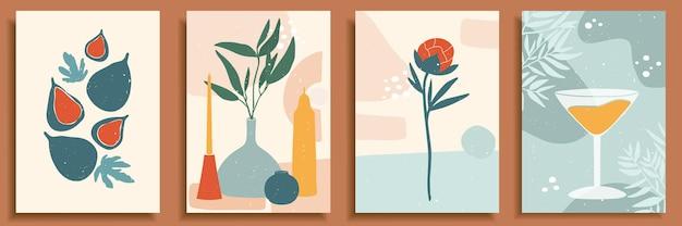 파스텔 색상의 추상 정물입니다. 현대 미술 컬렉션입니다. 손으로 그린 꽃병, 양초, 잎, 꽃, 과일, 무화과, 유리, 모란.