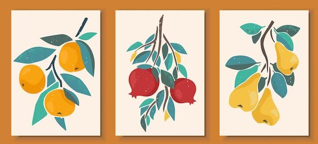 파스텔 색상 포스터에서 추상 정물화