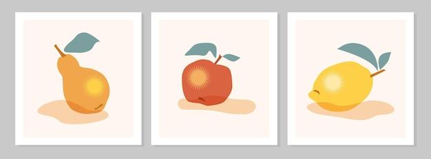 레몬, 배, 사과 과일 포스터가 있는 추상적인 정물. 현대 미술 컬렉션입니다. 벡터 평면 그림입니다. 소셜 미디어, 엽서, 인쇄물을 위한 손으로 그린 추상 과일 디자인.