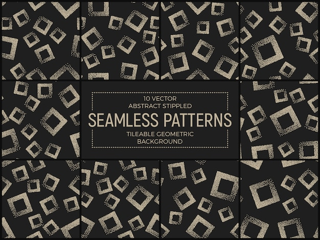 Abstract stippled seamless patterns  set