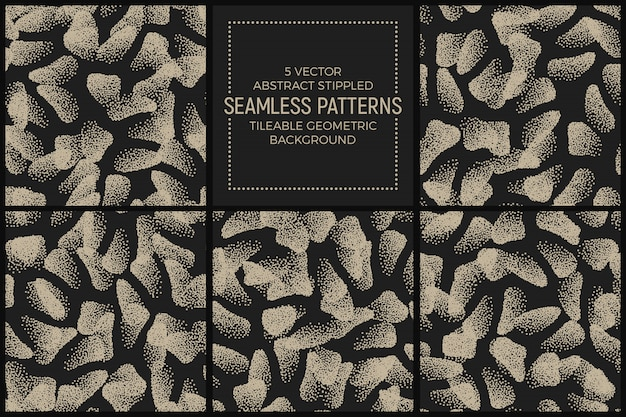 Abstract stippled seamless patterns vector set