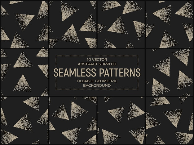 Abstract stippled triangles seamless patterns set