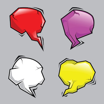 Abstract stone cartoon speech bubbles set