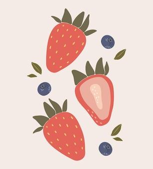 抽象的なイチゴとブルーベリーの果実
