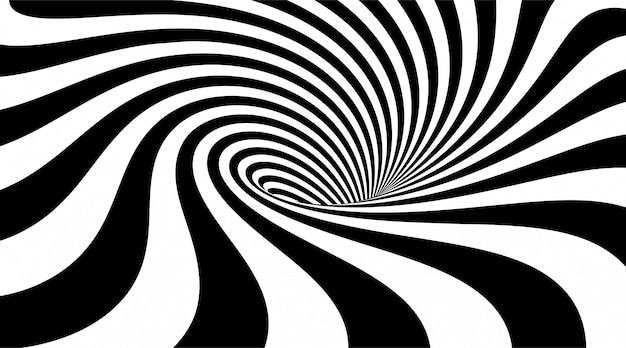 Abstract striped background. whirlpool or vortex shape.  illustration of 3d optical illusion. monochrome wavy pattern.
