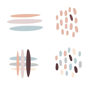 Abstract stripes and dots - beige decor. modern pastel colors