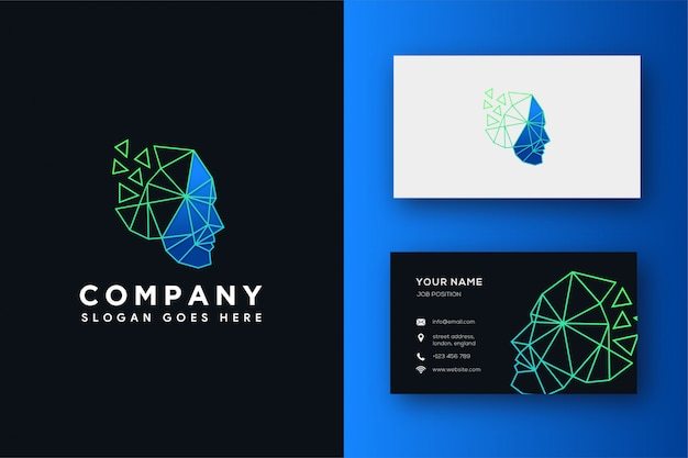 Abstract structural head logo and business card template