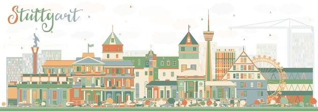 Абстрактный горизонт штутгарта с цветными зданиями. векторные иллюстрации. деловые поездки и концепция туризма с исторической архитектурой. изображение для презентационного баннера и веб-сайта.