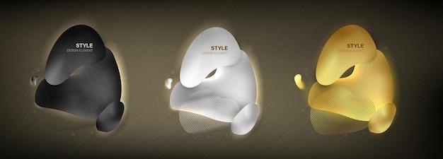 Абстрактный стиль цвет золото серебро и черный