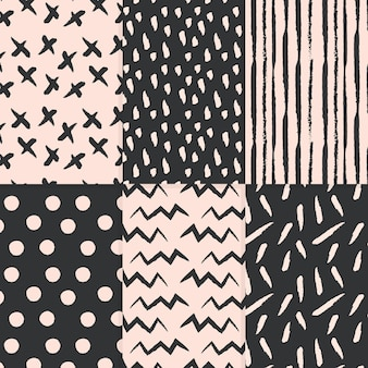 Abstract style hand drawn pattern collection