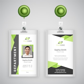 Abstract style id cards template with photo
