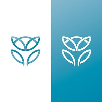 2つのバージョンの抽象的なスタイルのロゴ