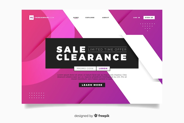 Abstract style sales landing page with promo code