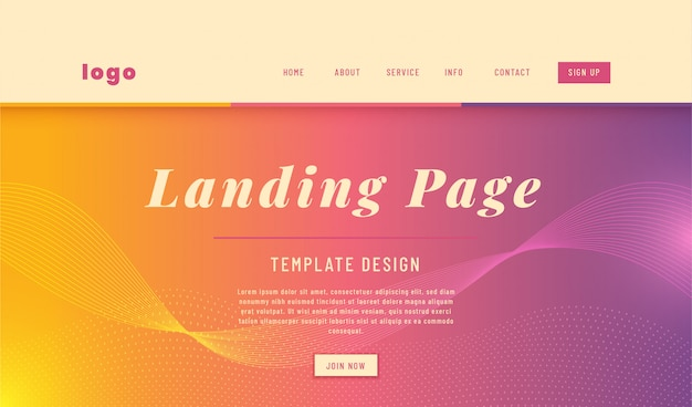 Abstract style simple landing page web template design.