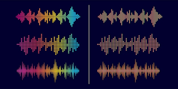 Abstract style sound wave equalizer design template collection
