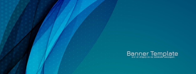 Abstract stylish blue wavy design banner template vector