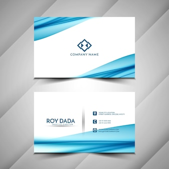 Abstract stylish business card blue wave design template