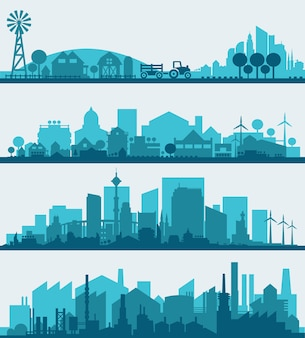 Abstract stylish cityscape infographics. infographics elements collection with town, city, farm and industrial districts