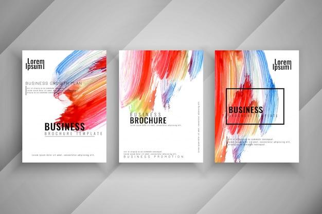 抽象的なスタイリッシュなカラフルな3つのビジネスのパンフレットセット