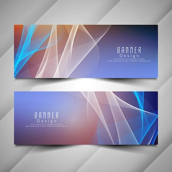 Abstract stylish colorful wavy banners set