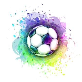 水彩画のスプラッシュからデジタルサッカーボールの抽象的なスタイリッシュな概念設計。塗料のベクトルイラスト
