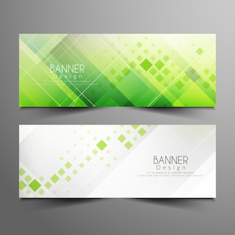 Abstract stylish green banners set