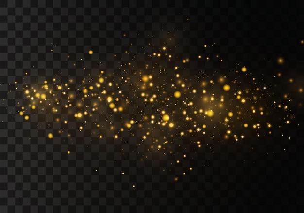黒の透明な背景に抽象的なスタイリッシュな光の効果。黄砂黄色の火花と金色の星が特別な光で輝いています。