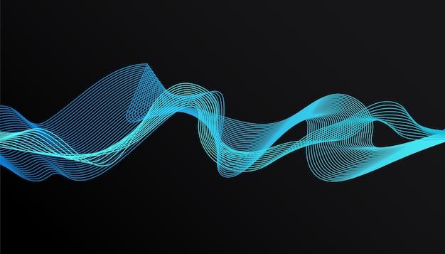 デザインパンフレット、ウェブサイト、チラシの暗い背景にトレンディな青いグラデーション波と抽象的なスタイリッシュなモダンなデザイン。