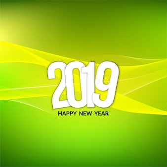 Abstract stylish New Year 2019 green background