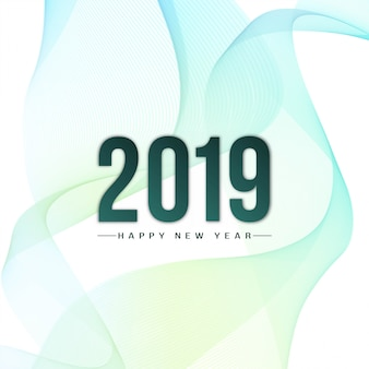 Abstract stylish New Year 2019 wavy background