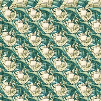 Abstract stylish ornamental seamless pattern with different shapes of light and dark green shades