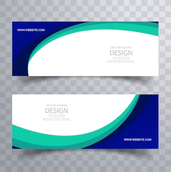 Abstract stylish wave header design set vector illustration