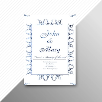 Abstract stylish wedding invitation card floral template design